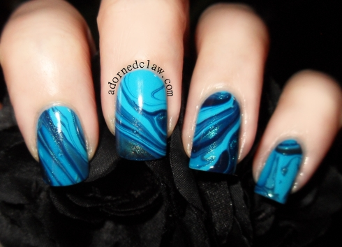 Three Shades Of Blue Water Marble Night Watch, Scarab and Noble