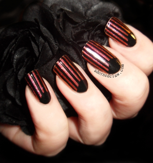 The Adorned Claw: Black And Glitter Stripes Half Moon Mani!