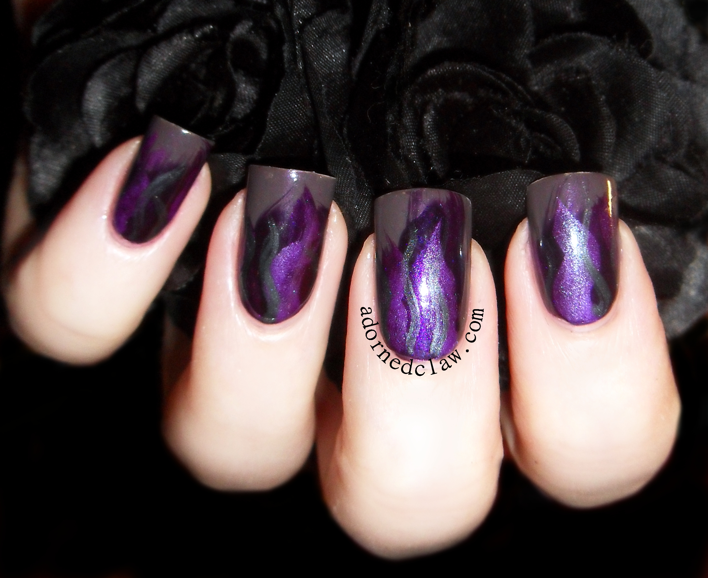 Pick and Mix – Purple Fire Brush Stroke Nail Art | The Adorned Claw