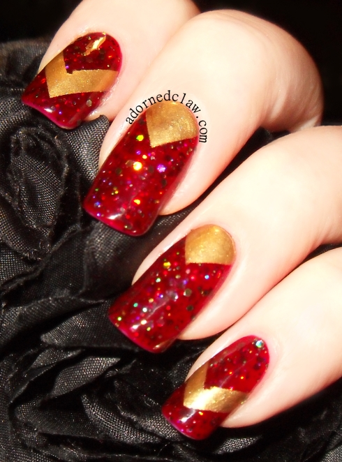 Gold and Red Chevron Nail Art Taras Talons Zombie Blood and Revlon Golden