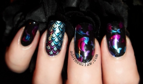 tropical fish leadlight nail art
