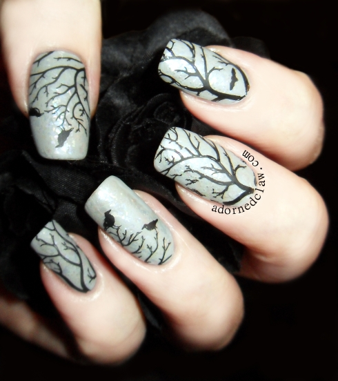 Winter Tree Nail Art