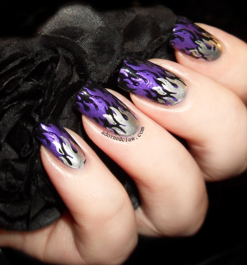 Purple Flames nail art