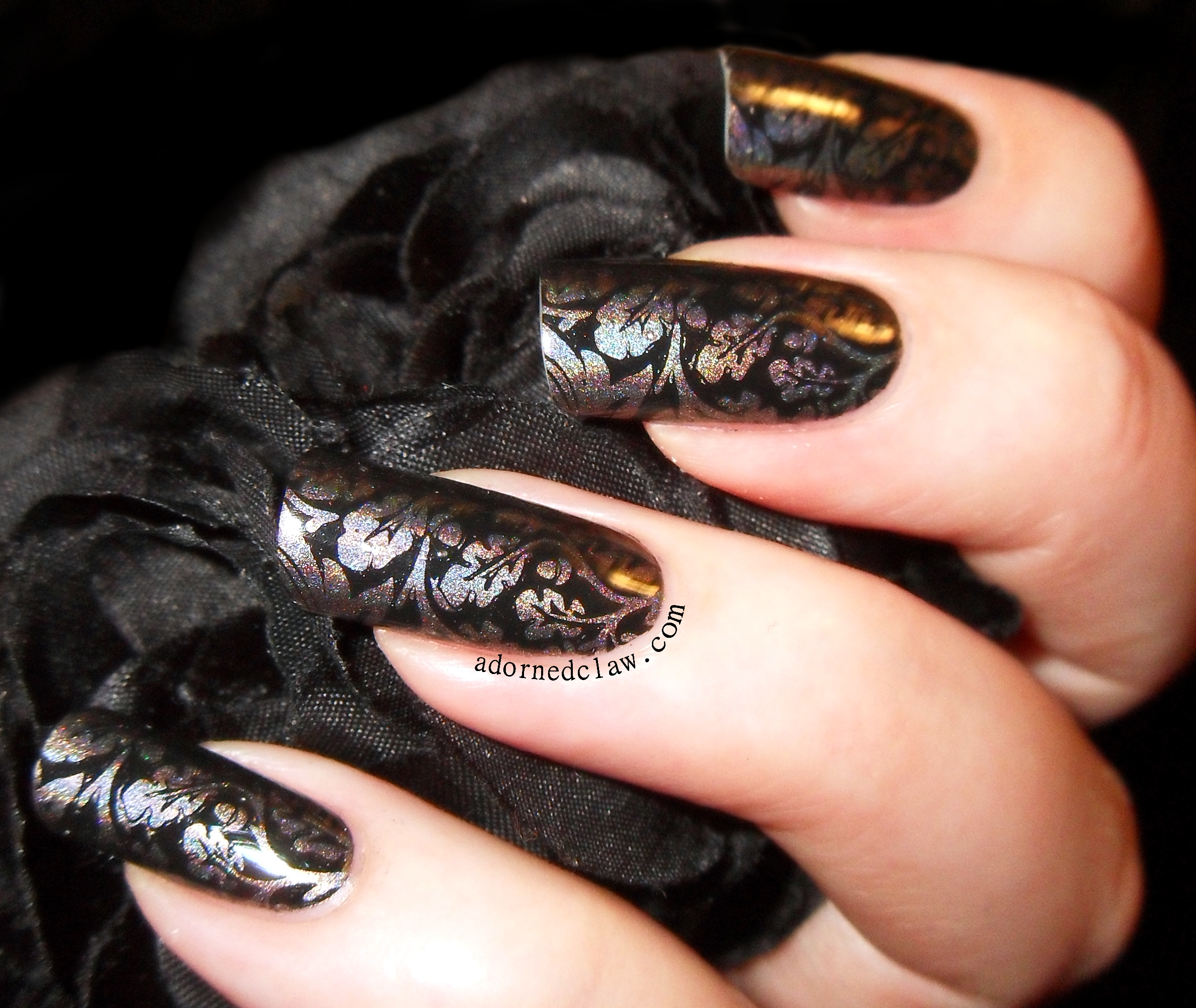 The Adorned Claw: Holographic Grey Nails With MM16