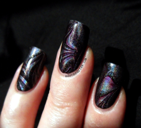 Holographic Watermarble China Glaze Get Outta My Space and OPI Lincoln Park After Dark.