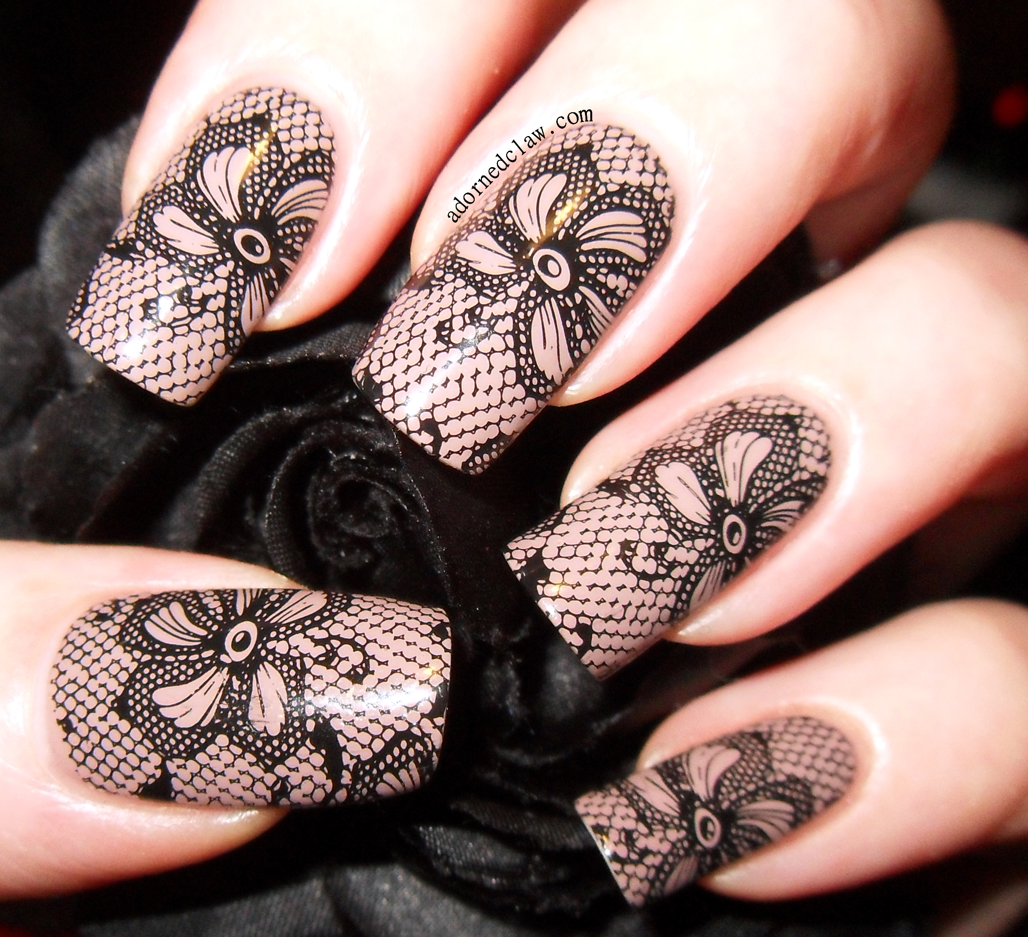 Black lace nails for my birthday the adorned claw black lace birthday nails prinsesfo Image collections