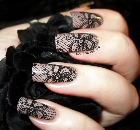 Black Lace Birthday Nails