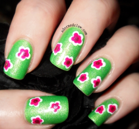 Spring Flowers Nail Art Using Illamasqua Omen, Barry M Shocking Pink, Color Club Hot Like Lava, Sinful Colors Snow Me White