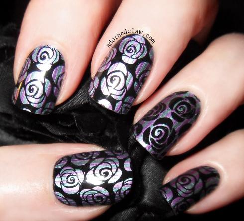 Metallic stripey rose nail art