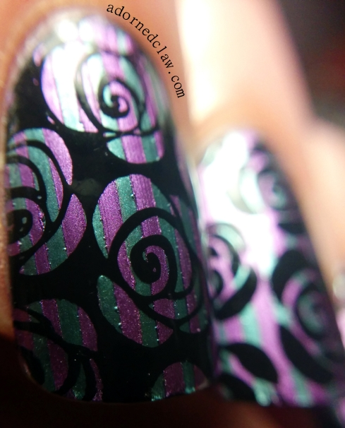 metallic stripey rose macro nail art