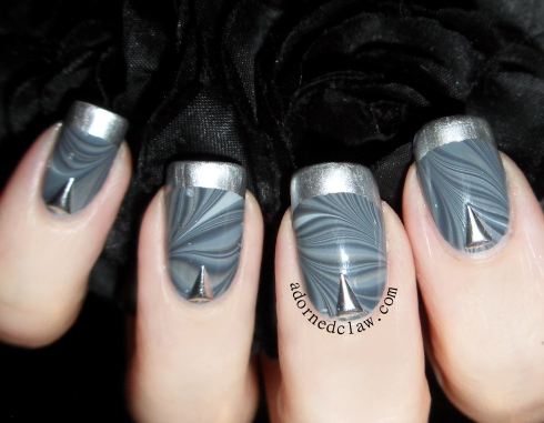 Grey water marble nail art