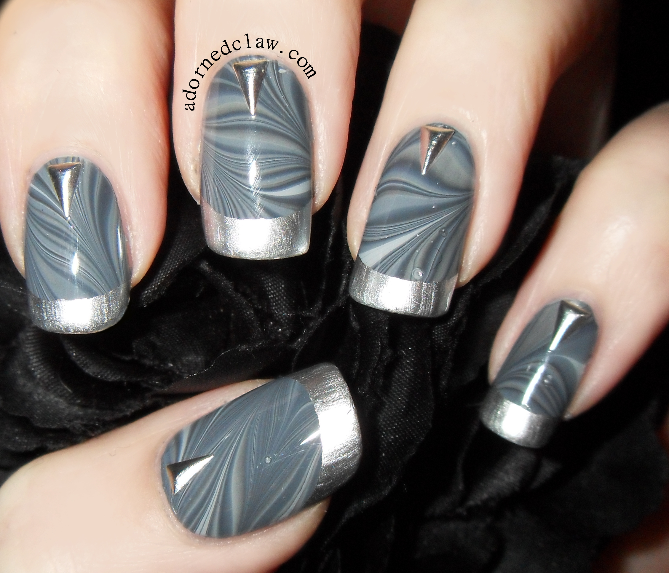 Grey Water Marble Nail Art With Studs From BPS