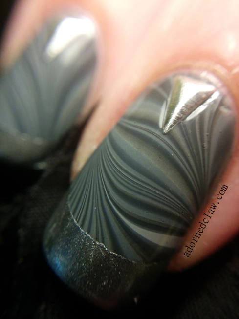 Grey water marble born pretty nail art studs