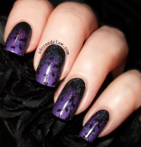 Purple Gradient with Bridal Nail BN05 | The Adorned Claw