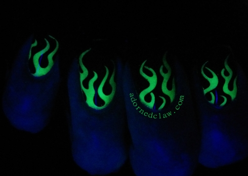glow in the dark fire nail art
