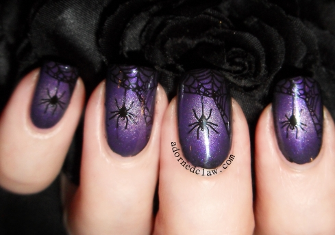 Halloween Purple Spiderweb Nail Art