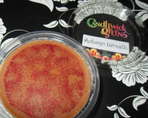 candlewick green wax tart melt autumn wreath