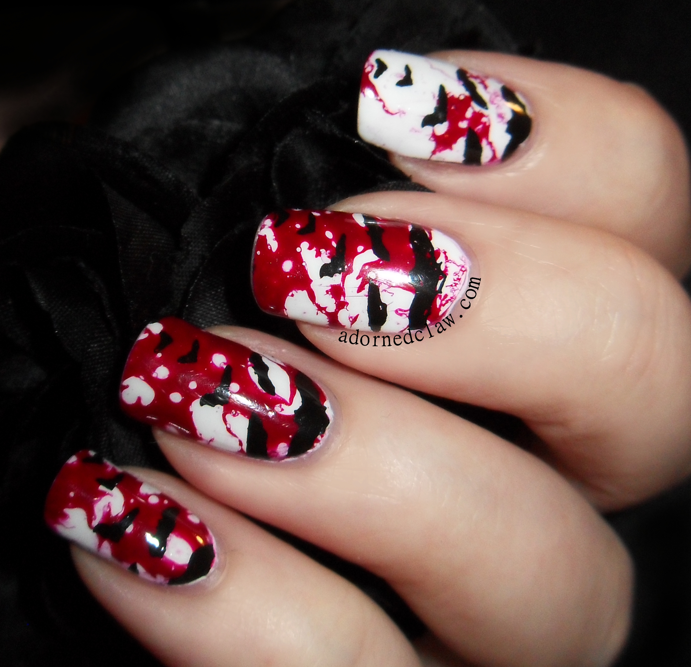 Red Black Nail Art Galleries And Nail Art.  Free Image Nail Art