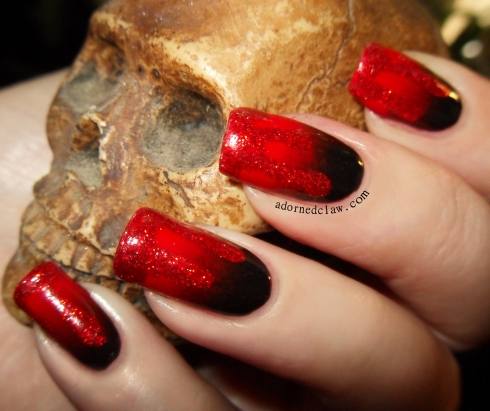 Halloween glitter blood nail Art
