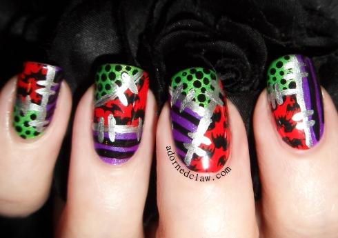 halloween patchwork nail art