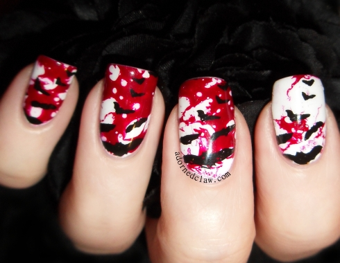 Bloody Bats Halloween Nail Art