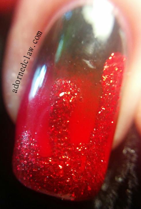 Halloween glitter blood nail Art