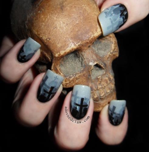 Misty Graveyard Nail Art