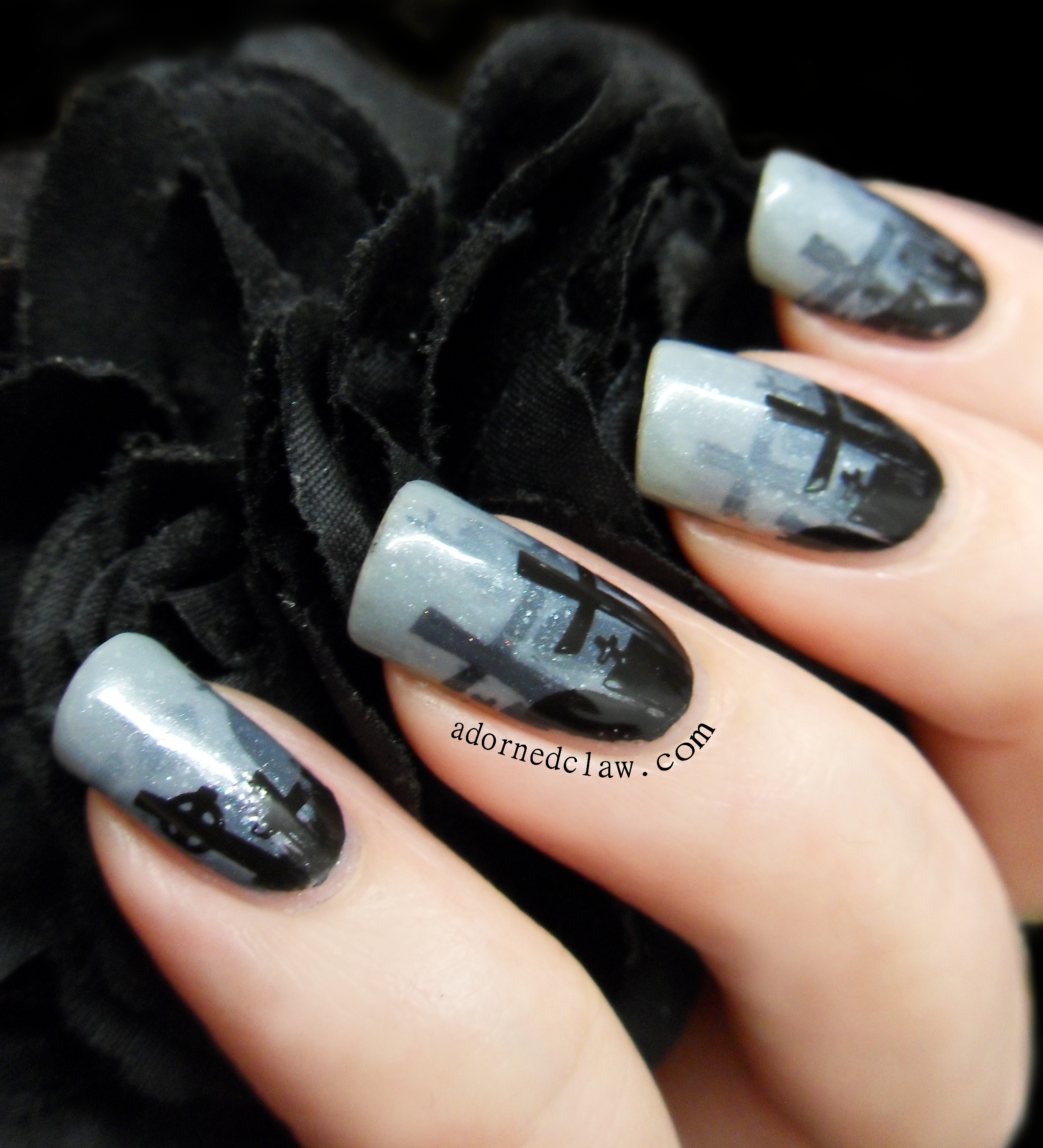 Misty Graveyard Halloween Nail Art | The Adorned Claw