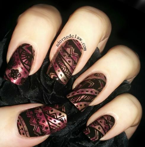 Autumn fall smoosh attack nail art