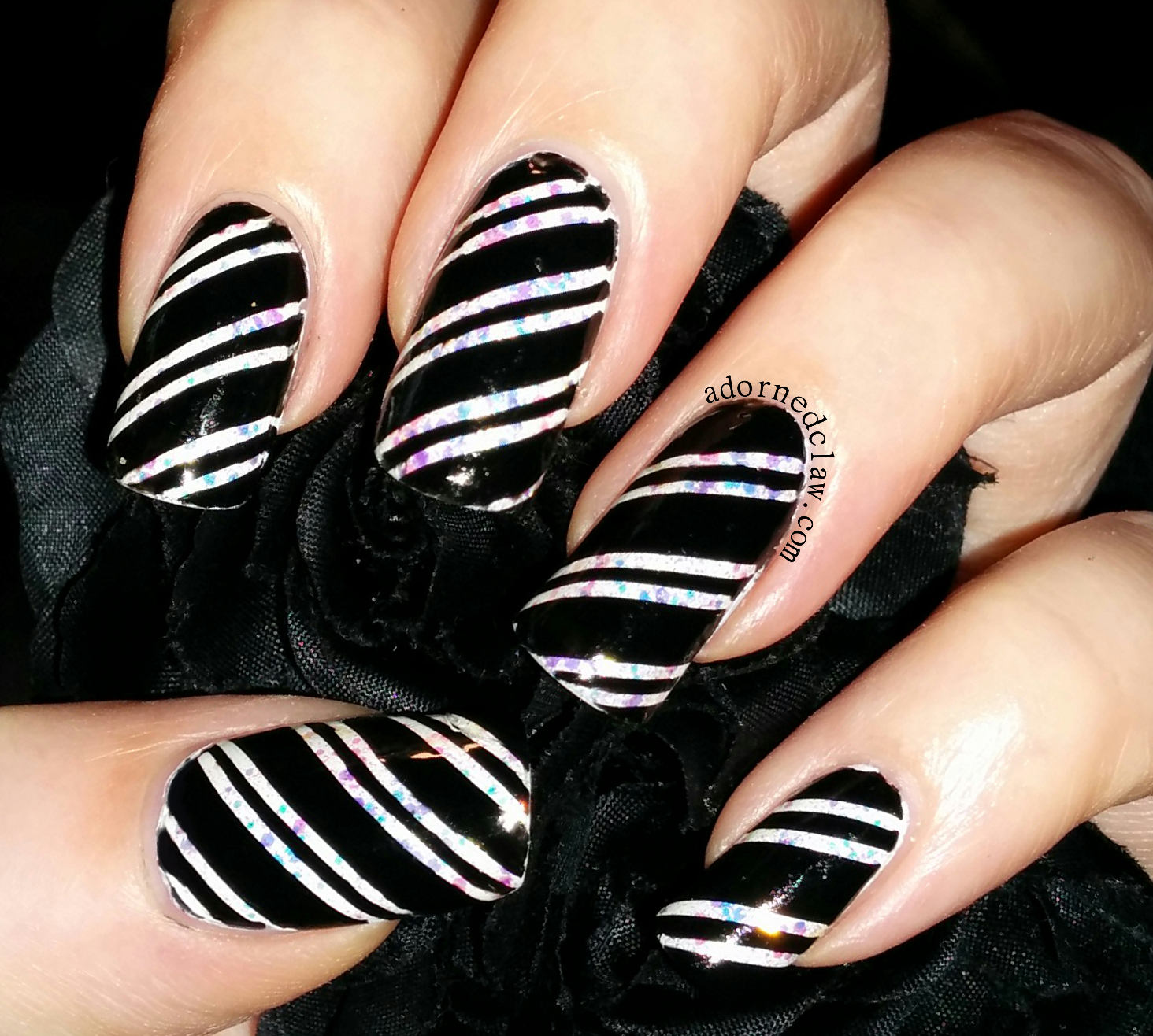 Black and white candy cane nails the adorned claw black and white candy cane nail art prinsesfo Image collections