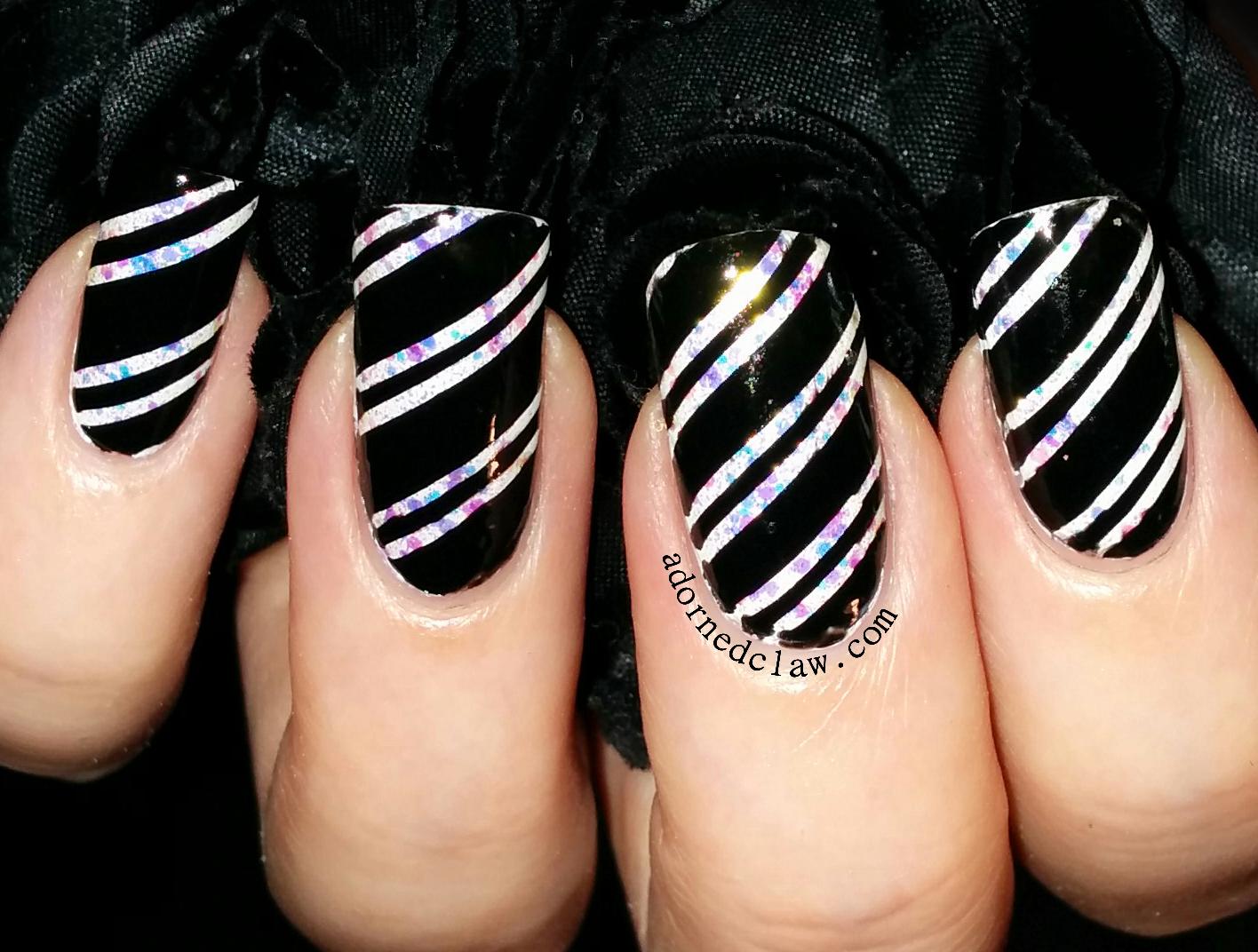 black and white candy cane nail art - Black Christmas Nails