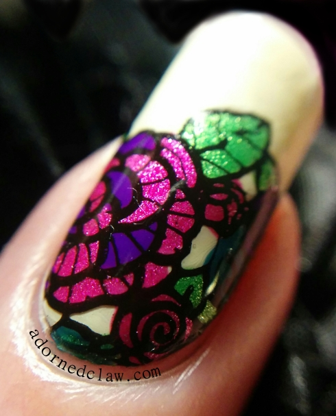 Lace Flowers Leadlight Nail Art