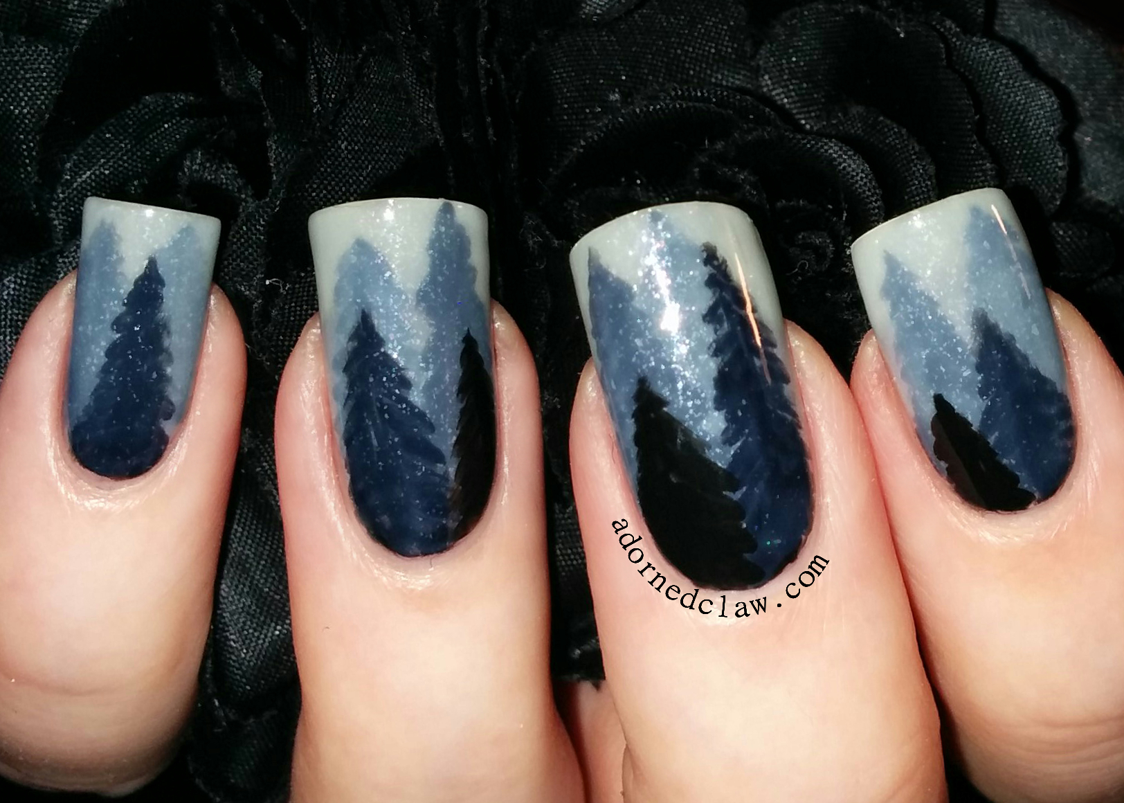 Frosty Forest Nail Art The Adorned Claw