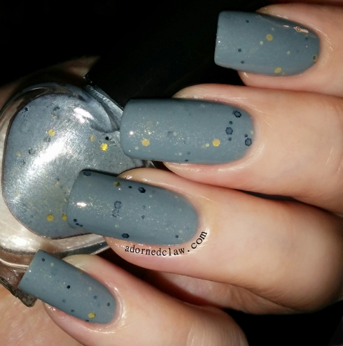 grey gold glitter franken polish