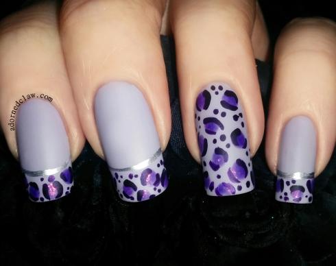 purple leopard print nail art