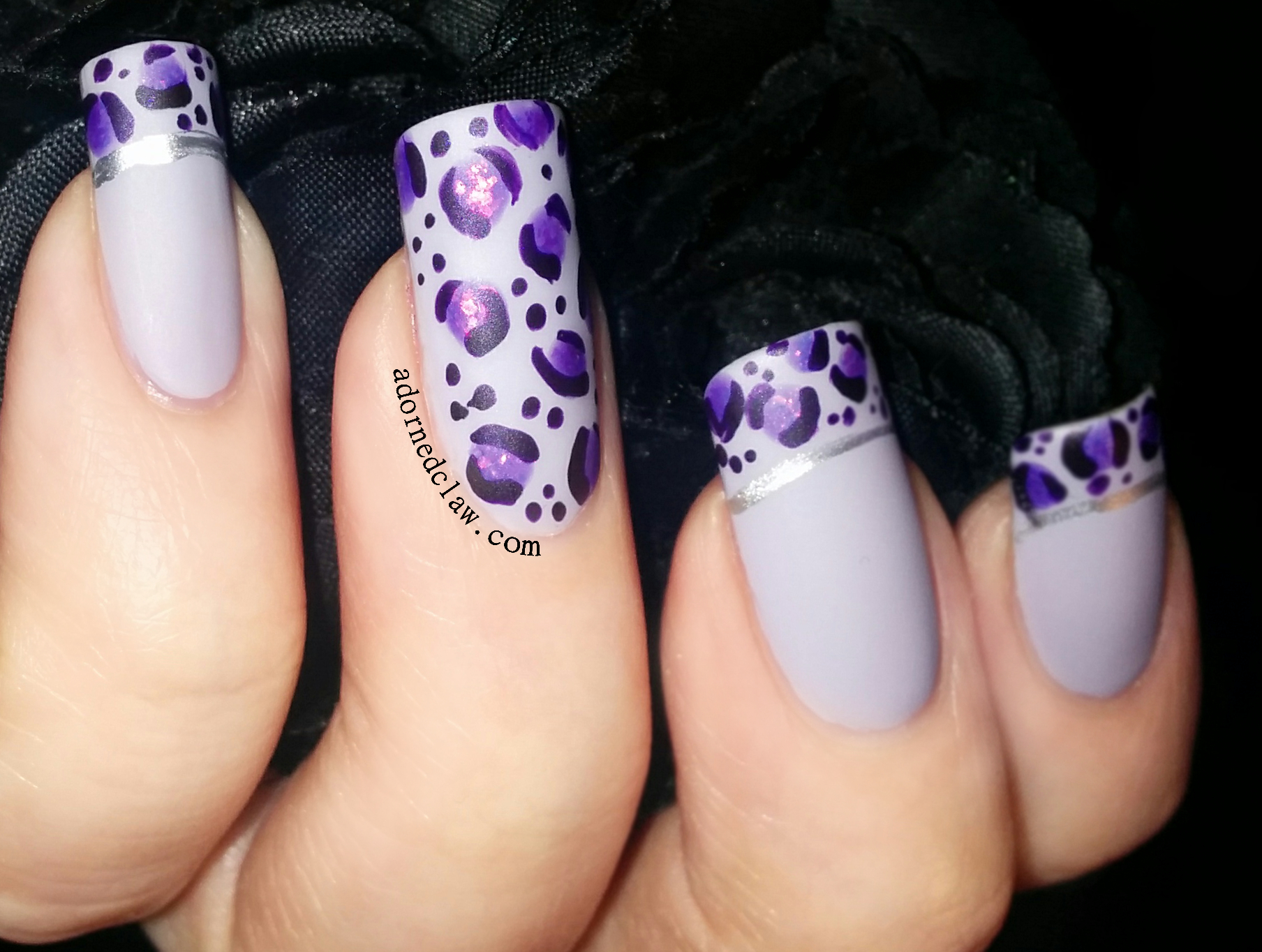 Nail art color violet - Purple Leopard Print Nail Art