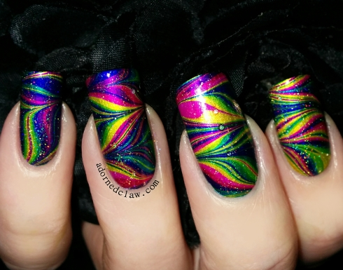 rainbow watermarble nail art