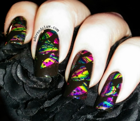 Rainbow Rocket Watermarble Nail Art