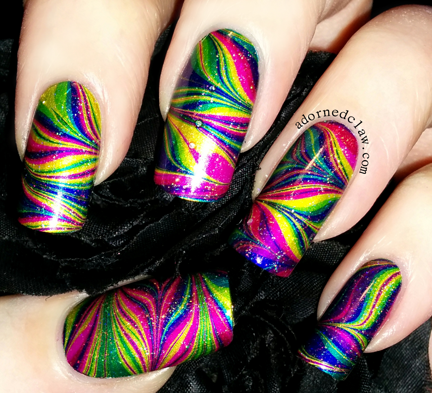 Rainbow watermarble the adorned claw rainbow watermarble nail art prinsesfo Image collections