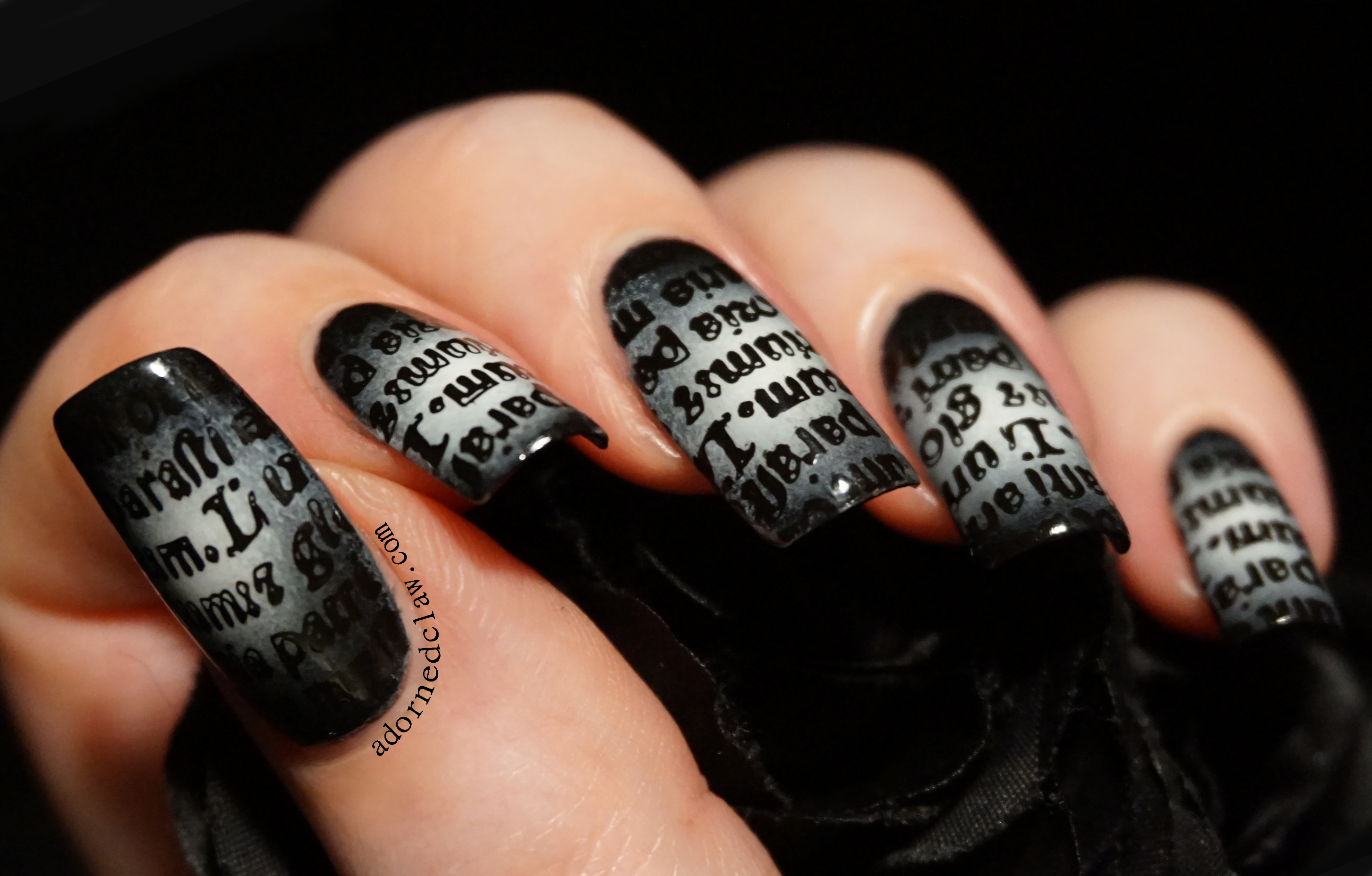 Gothic Text Nail Art | The Adorned Claw
