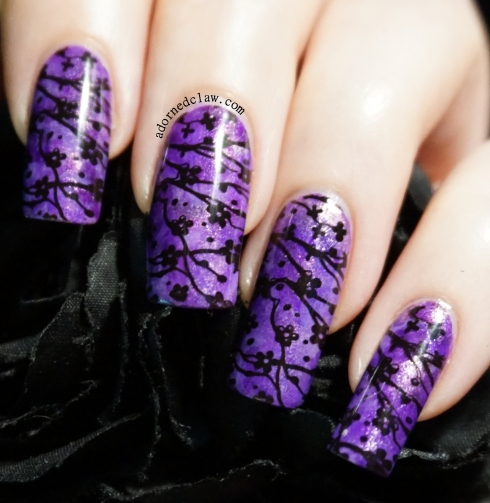 Purple Smoosh Stamped Blossom Nail Art
