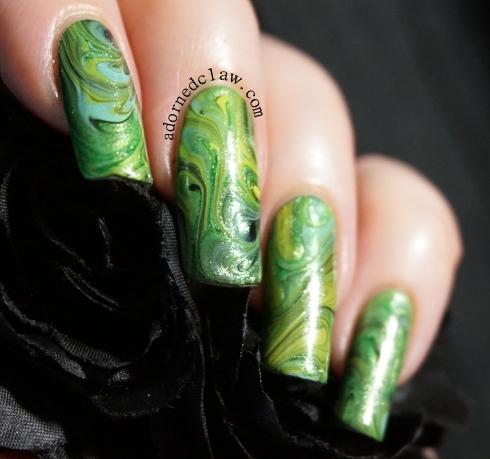 Green Dry Marble Nail Art