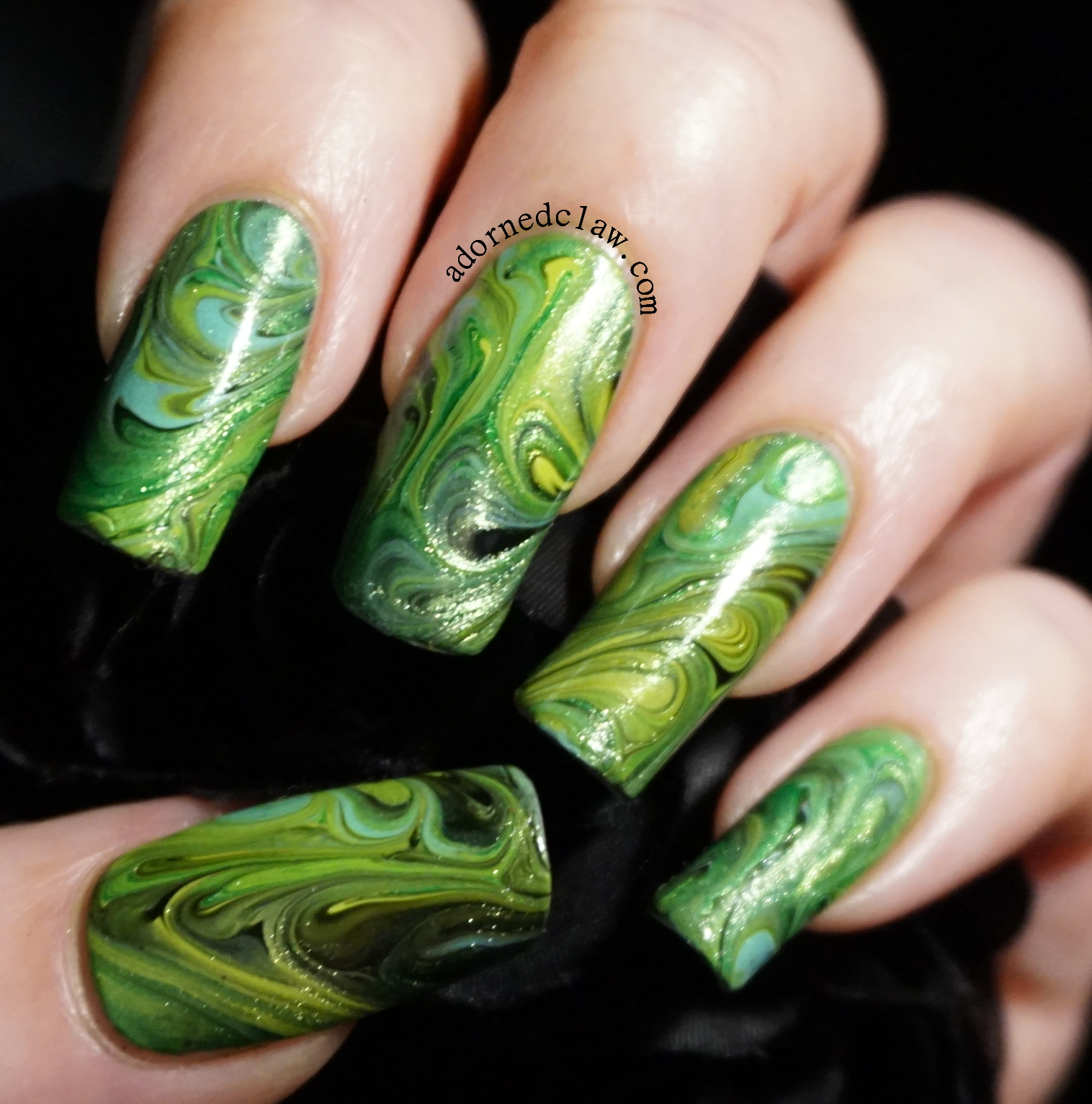 Green Swirly Dry Marble Nail Art! | The Adorned Claw